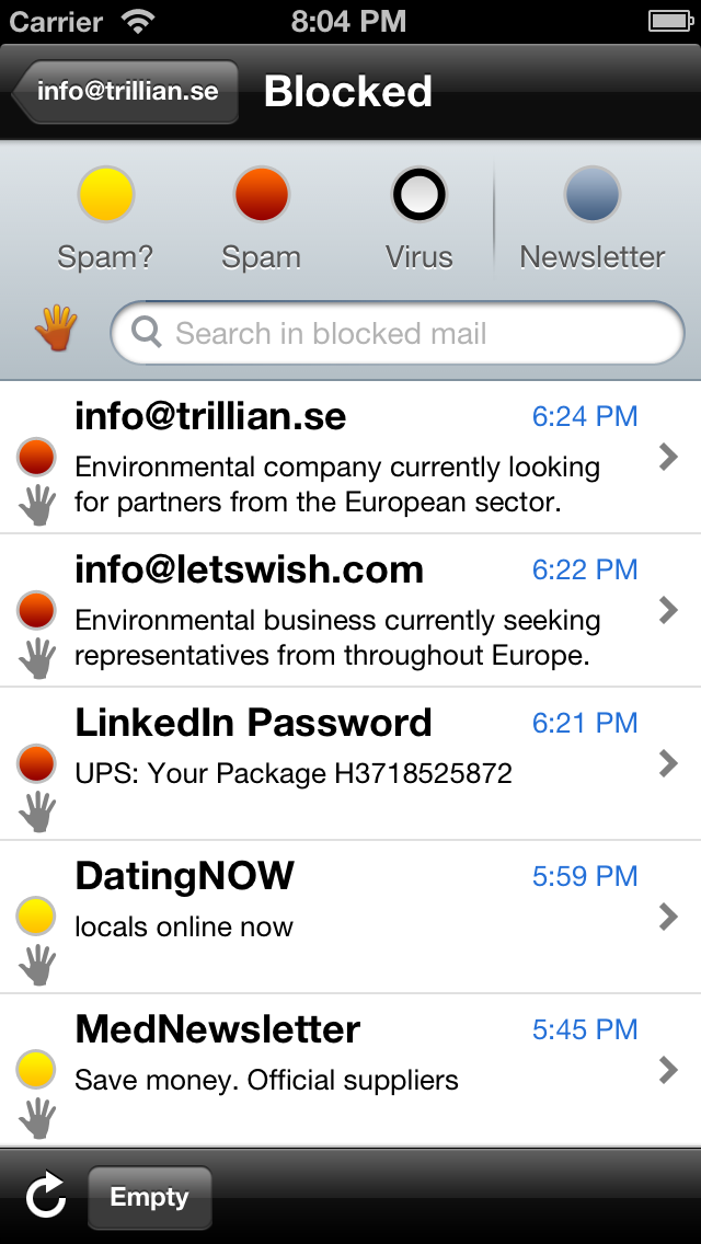 New message lists with search capability